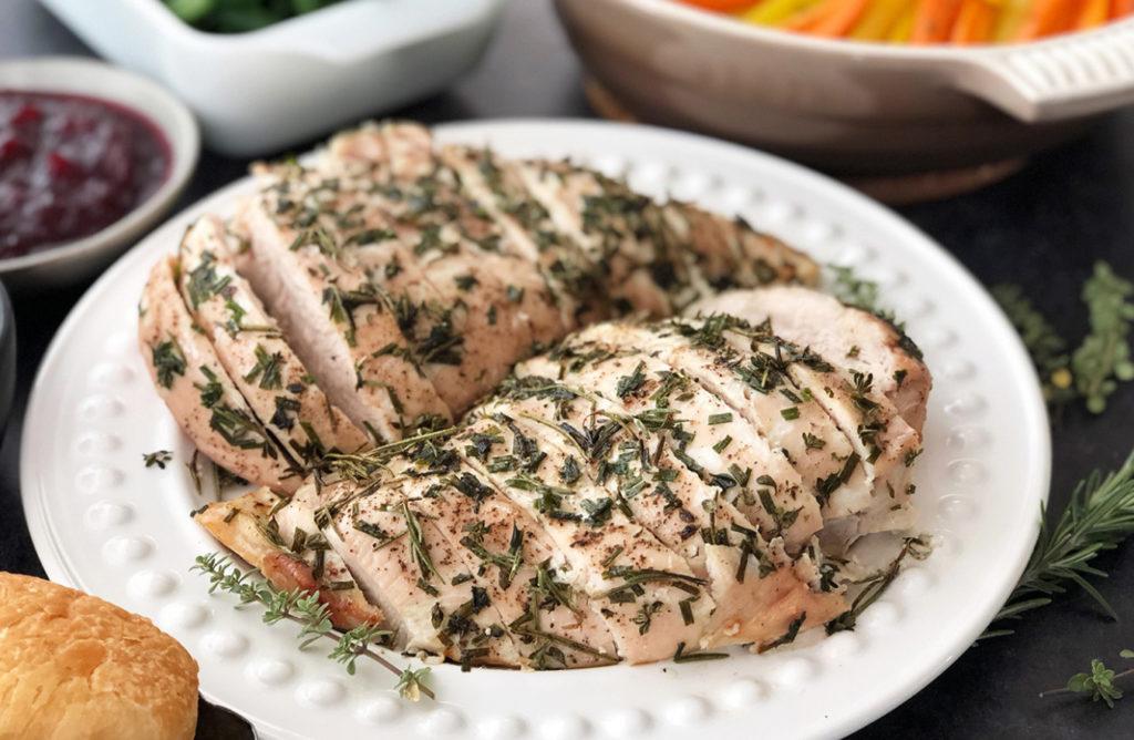 slow roasted herb marinated turkey breast