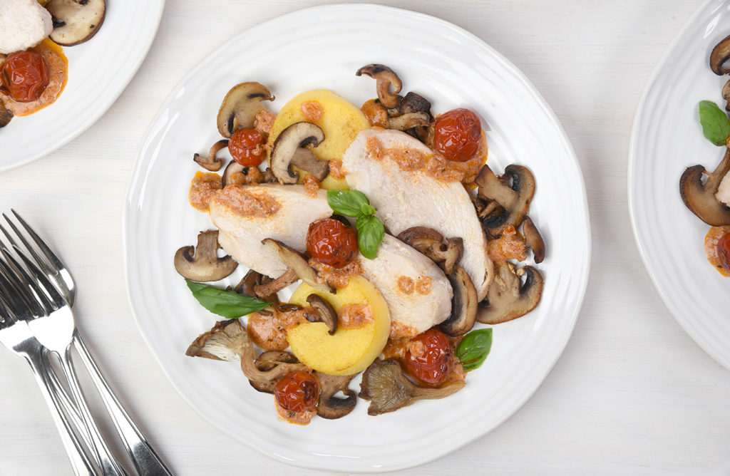 one-skillet turkey, mushrooms and polenta cakes with sun-dried tomato dressing